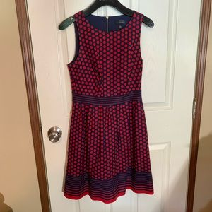 Blue and Red Polka Dot A-line Dress